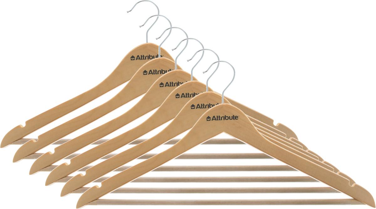 Набор вешалок для одежды Attribute Hanger Classic, прямые, 6 штAHN156Набор Attribute Hanger Classic состоит из 6 вешалок для одежды, выполненных из стали и дерева. Изделия оснащены перекладинами с нескользящим ПВХ-покрытием и двумя выемками. Вешалка - это незаменимая вещь для того, чтобы ваша одежда всегда оставалась в хорошем состоянии. Комплектация: 6 шт. Размер вешалки: 44 х 22 х 1 см.