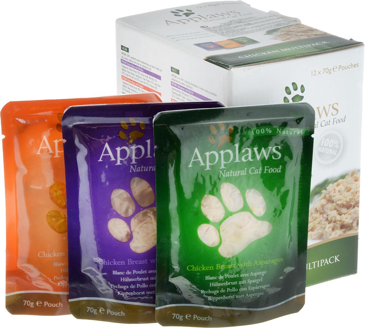 Набор консервов для кошек Applaws Куриное ассорти, 12 шт, 840 г20758Для приготовления любого блюда Appalws использует мясо животных свободного выгула, выращенных на фермах Англии. Уникальный дизайн упаковки прекрасно заменяет миску для вашего любимца. Вся линейка консервов приготовлена только из свежих и качественные ингредиентов. Консервы не содержат красителей, усилителей вкуса и запаха, продуктов ГМО. В набор входят: Консервы для кошек с курицей и тыквой - 4 шт. Фасовка: 70 г. Консервы для кошек с курицей и спаржей - 4 шт. Фасовка: 70 г. Консервы для кошек с курицей - 4 шт. Фасовка: 70 г. Общий вес: 840 г. Товар сертифицирован.