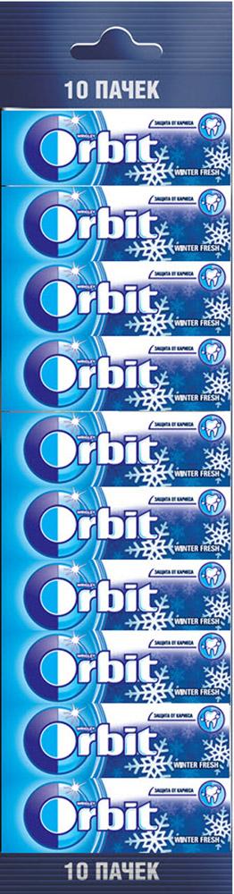 Orbit Winterfresh жевательная резинка без сахара, 10 пачек по 13,6 г4009900394390Жевательная резинка Orbit Зимняя свежесть без сахара способствует поддержанию здоровья зубов: удаляет остатки пищи, способствует уменьшению зубного налета, нейтрализует вредные кислоты, усиливает процесс реминерализации эмали. Употребление жевательной резинки каждый раз после еды способствует поддержанию чистоты и здоровья зубов в дополнение к уходу за ротовой полостью с помощью зубной щетки.