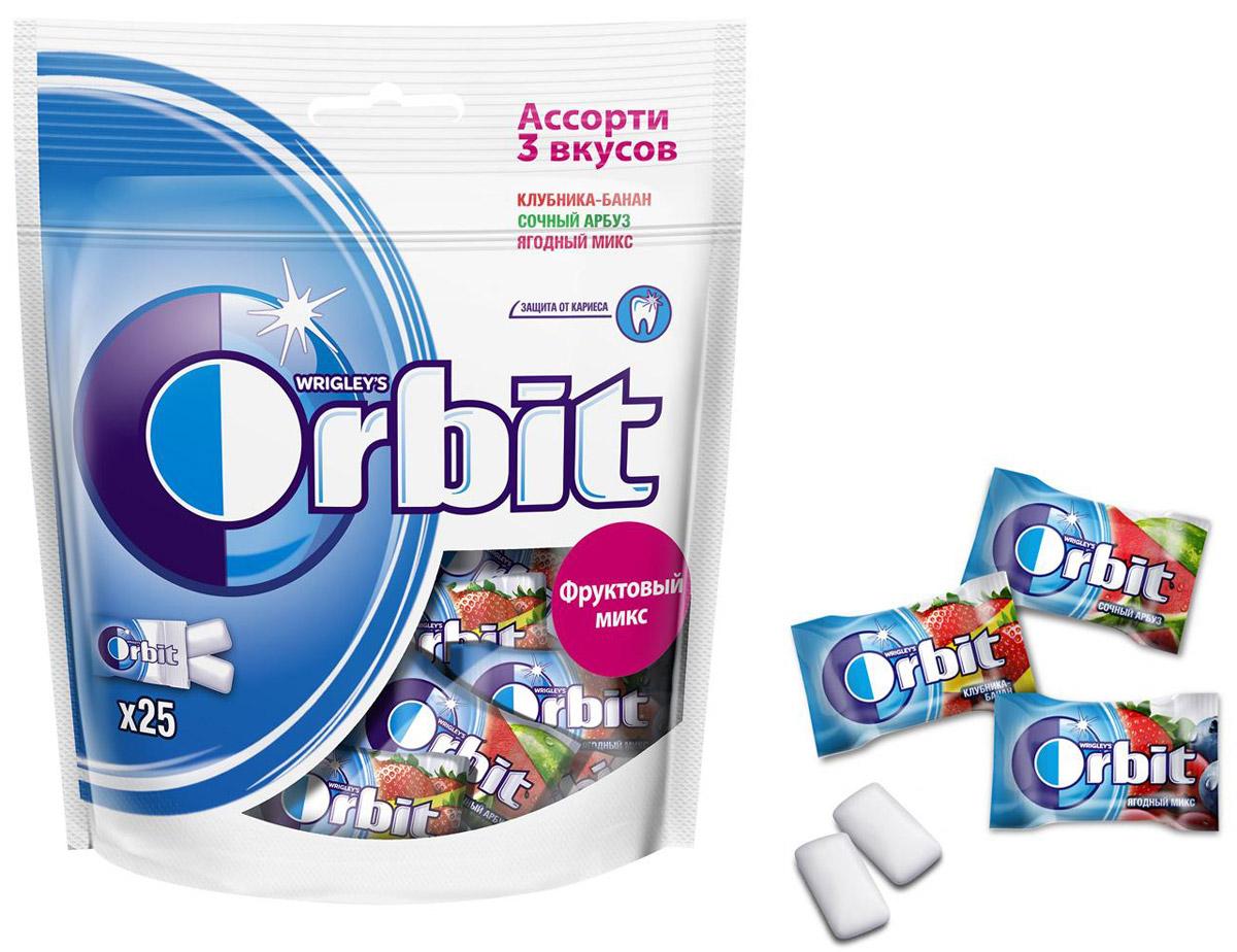 Orbit Фруктовый Микс Ассорти 3 вкусов жевательная резинка, 50 драже4009900500883Жевательная резинка Orbit® без сахара способствует поддержанию здоровья зубов: удаляет остатки пищи, способствует уменьшению зубного налета, нейтрализует вредные кислоты, усиливает процесс реминерализации эмали. *Употребление жевательной резинки каждый раз после еды способствует поддержанию чистоты и здоровья зубов в дополнение к уходу за ротовой полостью с помощью зубной щетки