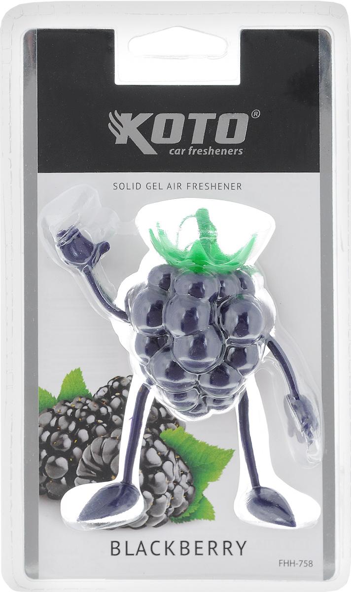 Ароматизатор автомобильный Koto Blackberry, гелевый, 50 гFHH-758Автомобильный ароматизатор Koto Blackberry эффективно устраняет неприятные запахи и придает легкий приятный аромат. Сочетание геля с парфюмами наилучшего качества обеспечивает устойчивый запах. Кроме того, ароматизатор обладает элегантным дизайном. Изделие можно разместить на зеркале заднего вида, используя шнурок для подвеса.