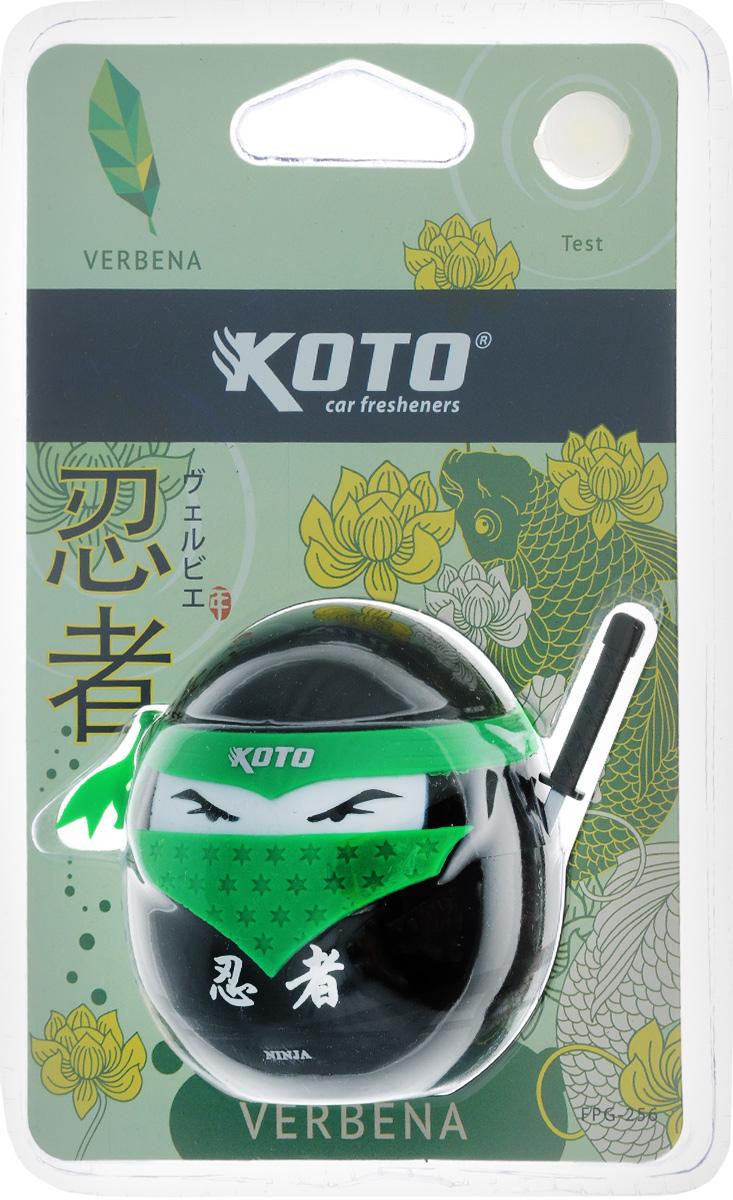 Ароматизатор автомобильный Koto Ниндзя. Verbena, гелевый, 45 млFPG-256Автомобильный ароматизатор Koto Ниндзя. Verbena эффективно устраняет неприятные запахи и придает приятный аромат вербены. Сочетание геля с парфюмами наилучшего качества обеспечивает устойчивый запах. Кроме того, ароматизатор обладает элегантным дизайном. Изделие можно разместить на горизонтальной поверхности, используя двухсторонний скотч.