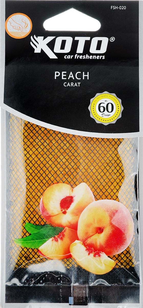 Ароматизатор автомобильный Koto Carat. Peach, гелевый, под сиденьеFSH-020Автомобильный ароматизатор Koto Carat. Peach эффективно устраняет неприятные запахи и придает легкий приятный аромат. Сочетание геля с парфюмами наилучшего качества обеспечивает устойчивый запах. Кроме того, ароматизатор обладает элегантным дизайном, поэтому будет гармонично смотреться в салоне любого автомобиля. Благодаря удобной конструкции, его можно положить под сиденье. Ароматизатор имеет продолжительный срок службы - до 60 дней. Его можно использовать не только в автомобиле, но и в домашних условиях.