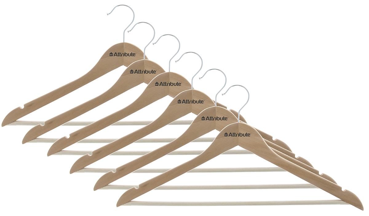 Набор вешалок для одежды Attribute Hanger Classic, изогнутые, 6 штAHN146Набор Attribute Hanger Classic состоит из 6 вешалок для одежды, выполненных из стали и дерева. Изделия оснащены перекладинами с нескользящим ПВХ-покрытием и двумя выемками. Вешалка - это незаменимая вещь для того, чтобы ваша одежда всегда оставалась в хорошем состоянии. Комплектация: 6 шт. Размер вешалки: 44 х 22 х 1 см.