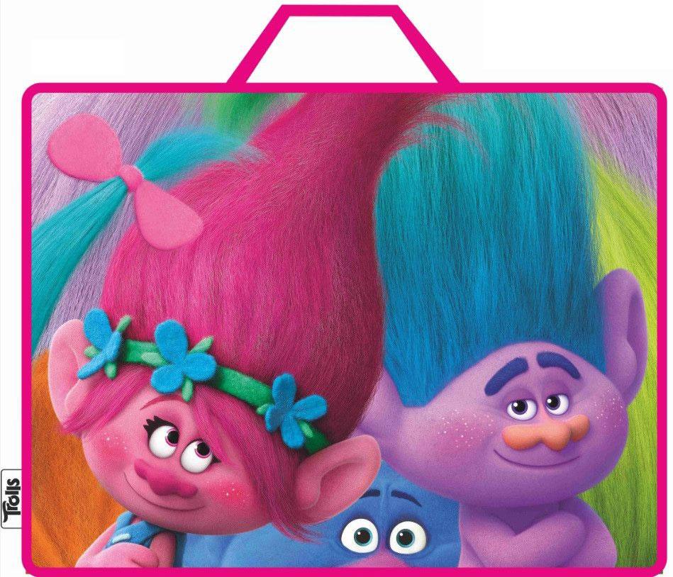 Centrum Сумка-папка Тролли цвет розовый6-203_цв. Полоска, черныйПапка-сумка Тролли, с ручками, формат А4, текстильная.