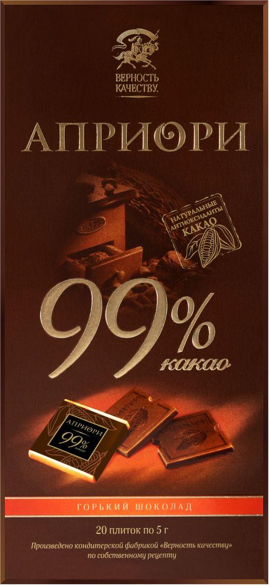 Априори горький шоколад 99%, 100 г0120710Благородный, терпкий, волнующий. Есть удовольствия, которые может оценить не каждый. Этот изысканный, богемный шоколад обязательно понравится людям с отличным вкусом. Он подарит им вдохновение и поистине уникальную гамму впечатлений.