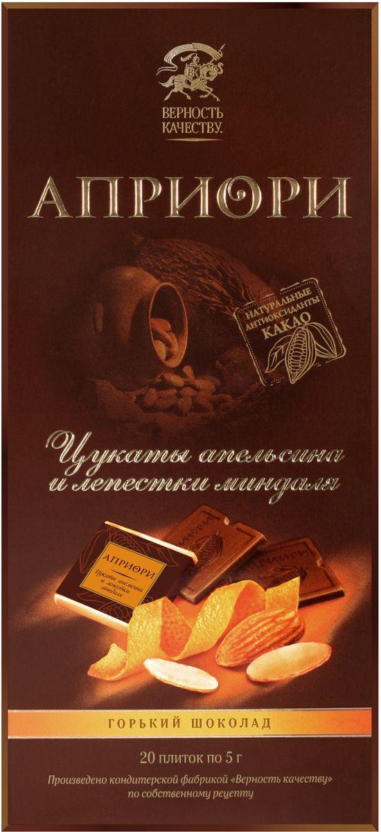 Априори горький шоколад цукаты апельсина и лепестки миндаля, 100 г 8252880