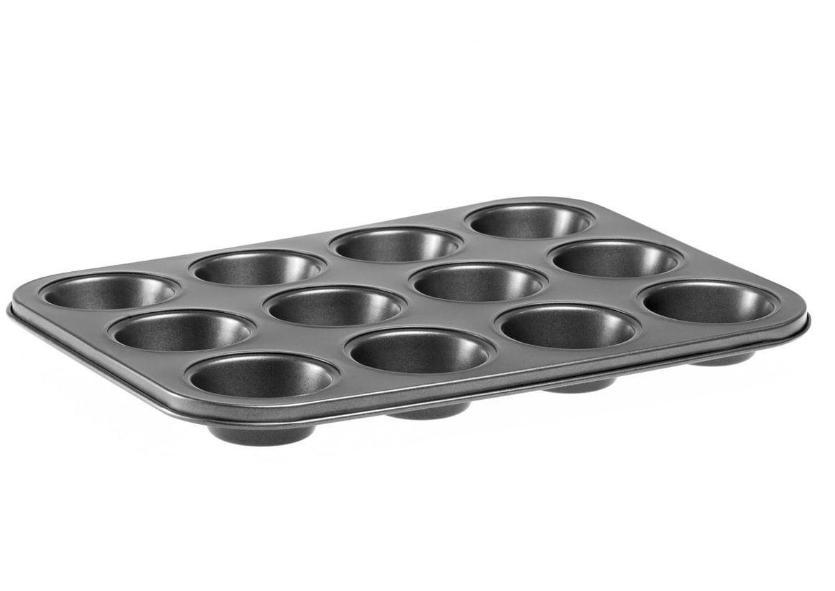 Форма для выпечки MoulinVilla, с антипригарным покрытием, 12 ячеек, 35 х 26,5 х 3 см94672Форма для кексов и маффинов MOULINvilla, состоящая из 12 ячеек, выполнена из утолщенной углеродистой стали, обладающей большой износостойкостью и надежностью.Технология антипригарного покрытия Goldflon способствует оптимальному распределению тепла. Форму легко чистить и мыть. Можно мыть в посудомоечной машине.