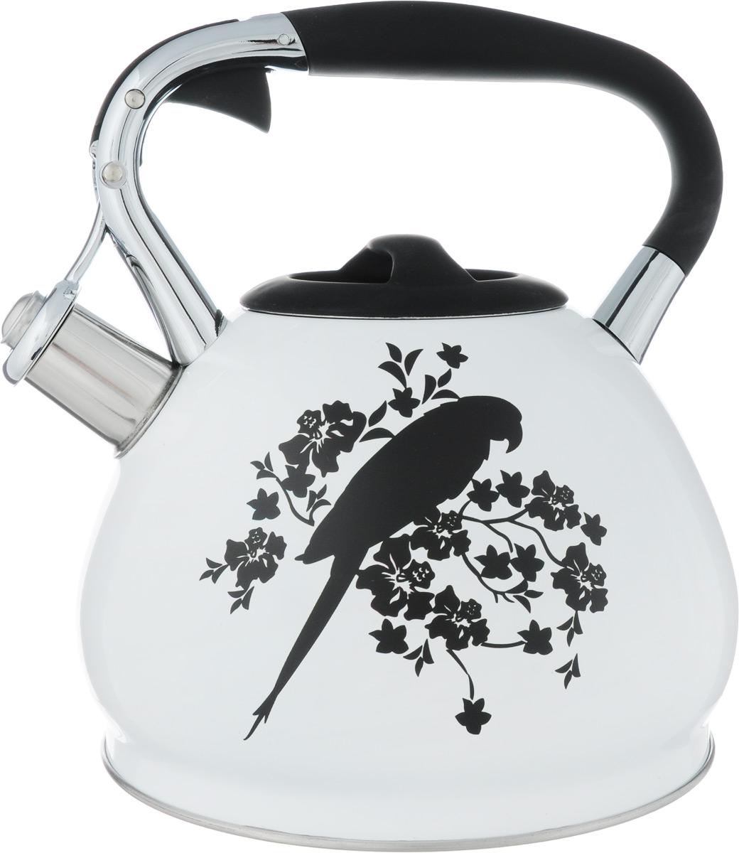 Чайник Bekker Попугай, со свистком, 3 лBK-S594_попугайЧайник Bekker Попугай выполнен из высококачественной нержавеющей стали, что обеспечивает долговечность использования. Внешнее цветное покрытие придает приятный внешний вид. Фиксированная ручка из бакелита с силиконовым покрытием делает использование чайника очень удобным и безопасным. Чайник снабжен свистком и устройством для открывания носика, которое находится на ручке. Изделие оснащено цельнометаллическим дном, что способствует медленному остыванию чайника. Черный рисунок на стенке чайника при достижении температуры 40°С начинает менять окрас на радужные цвета. Подходит для газовых, электрических и стеклокерамических плит, а также индукционных. Можно мыть в посудомоечной машине. Высота чайника (без учета крышки и ручки): 14 см. Высота чайника (с учетом ручки): 24 см. Диаметр (по верхнему краю): 9,5 см.