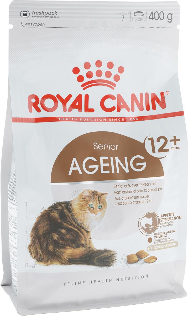 Корм сухой Royal Canin Ageing +12, для кошек старше 12 лет, 400 г498004Сухой корм Royal Canin Ageing +12 - это полнорационное питание для стареющих кошек старше 12 лет. У кошек старше 12 лет процесс клеточного старения ускоряется, однако признаки его очень различаются у разных кошек. У некоторых кошек они вообще незаметны, тогда как у других наглядно проявляются физические и поведенческие изменения. Явные признаки старения, которые необходимо отслеживать у кошки: - потеря в весе, - снижение активности, - более жесткая шерсть, - поведенческие изменения, - отсутствие аппетита, - кошка становится привередливее в еде. Корм Royal Canin Ageing +12 помогает противостоять клеточному старению кошек, благодаря запатентованному комплексу антиоксидантов и полифенолам зеленого чая. Такой корм стимулирует когнитивную функцию за счет аминокислот, а повышенное содержание незаменимых жирных кислот поддерживает здоровье суставов стареющих кошек. Корм Royal Canin Ageing +12...