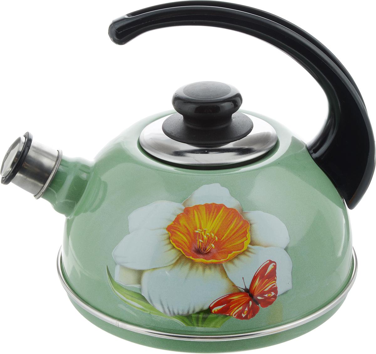 Чайник эмалированный Рубин Нарцисс, со свистком, 2,5 лVT-1520(SR)Чайник Рубин Нарцисс выполнен из высококачественного стального проката, что обеспечивает долговечность использования. Внешнее трехслойное эмалевое покрытие Mefrit не вступает во взаимодействие с пищевыми продуктами. Такое покрытие защищает сталь от коррозии, придает посуде гладкую стекловидную поверхность и надежно защищает от кислот и щелочей. Чайник оснащен фиксированной ручкой из пластика и крышкой, которая плотно прилегает к краю. Носик чайника оснащен съемным свистком, звуковой сигнал которого подскажет, когда закипит вода. Можно мыть в посудомоечной машине. Пригоден для всех видов плит, включая индукционные. Высота чайника (с учетом ручки): 22 см.Высота чайника (без учета крышки и ручки): 11,5 см.Диаметр по верхнему краю: 8,7 см.