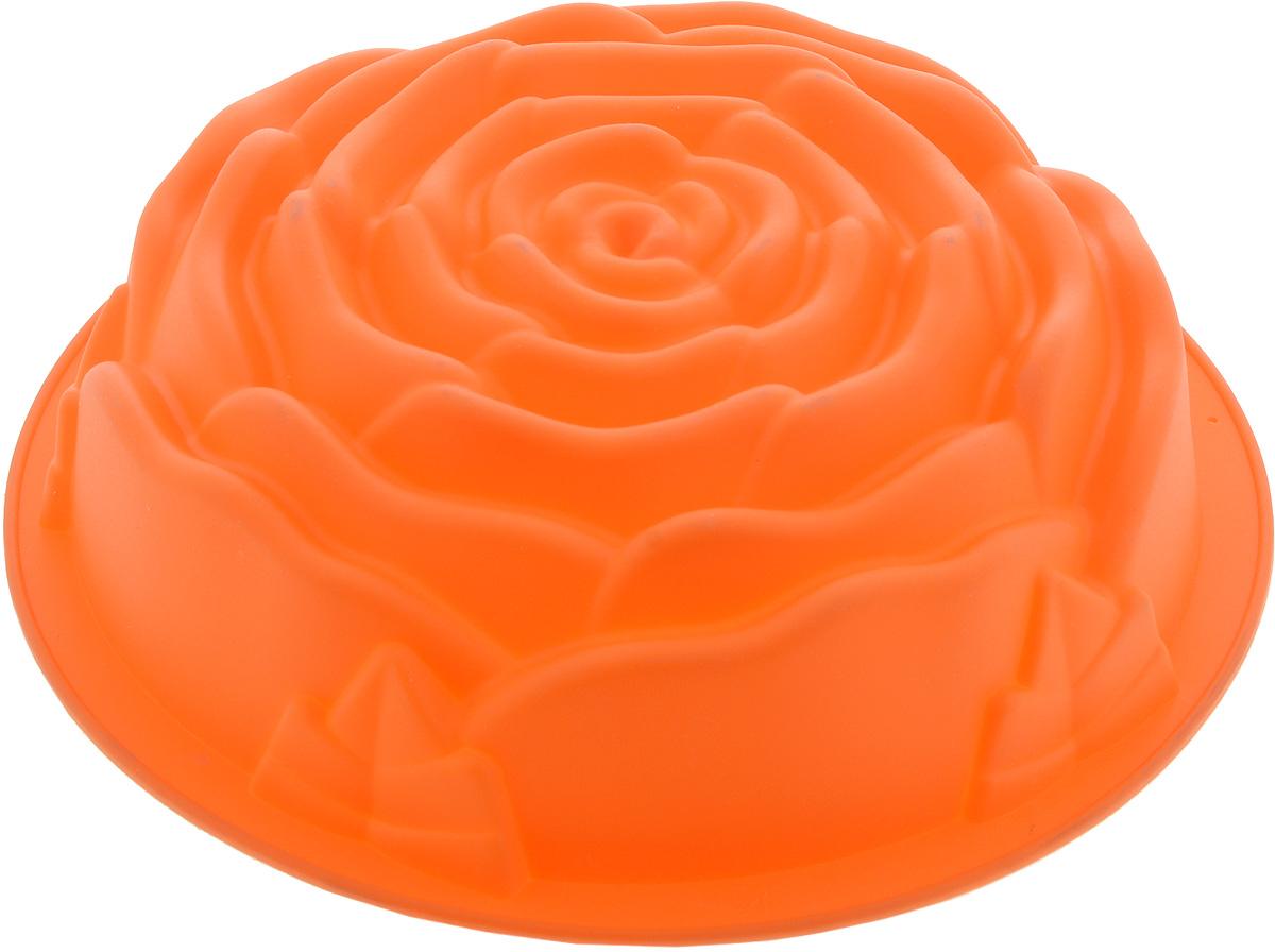 """Форма для выпечки Mayer & Boch """"Роза"""", силиконовая, цвет: оранжевый, диаметр 25 см"""