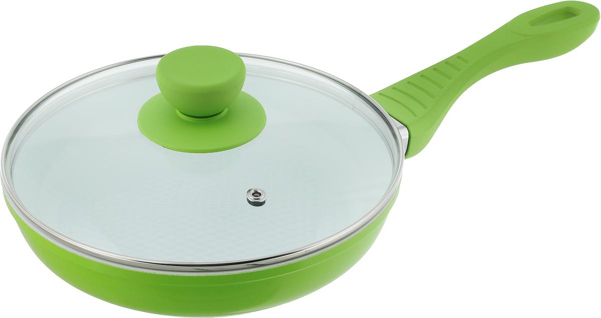 """Сковорода """"Bohmann"""" с крышкой, с керамическим покрытием, цвет: зеленый. Диаметр 20 см. 7020WC"""