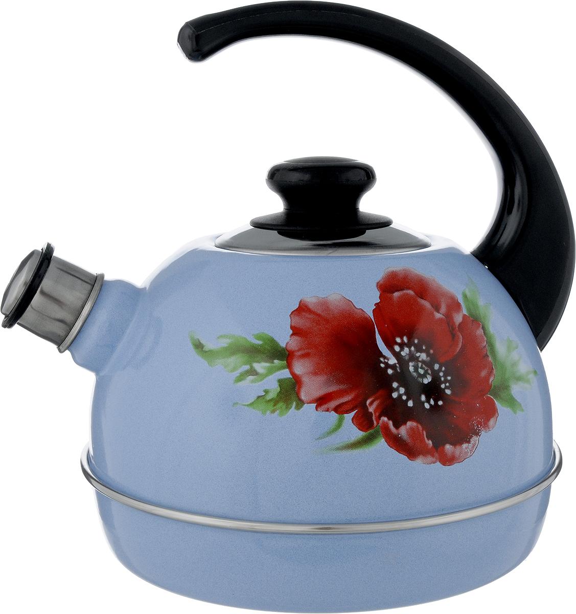 Чайник эмалированный Рубин Маковый цветок, со свистком, 3,5 лT04/35/09/04Чайник Рубин Маковый цветок выполнен из высококачественного стального проката, что обеспечивает долговечность использования. Внешнее трехслойное эмалевое покрытие Mefrit не вступает во взаимодействие с пищевыми продуктами. Такое покрытие защищает сталь от коррозии, придает посуде гладкую стекловидную поверхность и надежно защищает от кислот и щелочей. Чайник оснащен фиксированной ручкой из пластика и крышкой, которая плотно прилегает к краю. Носик чайника оснащен съемным свистком, звуковой сигнал которого подскажет, когда закипит вода. Можно мыть в посудомоечной машине. Пригоден для всех видов плит, включая индукционные. Высота чайника (с учетом ручки): 24 см. Высота чайника (без учета крышки и ручки): 14 см. Диаметр по верхнему краю: 8,7 см.