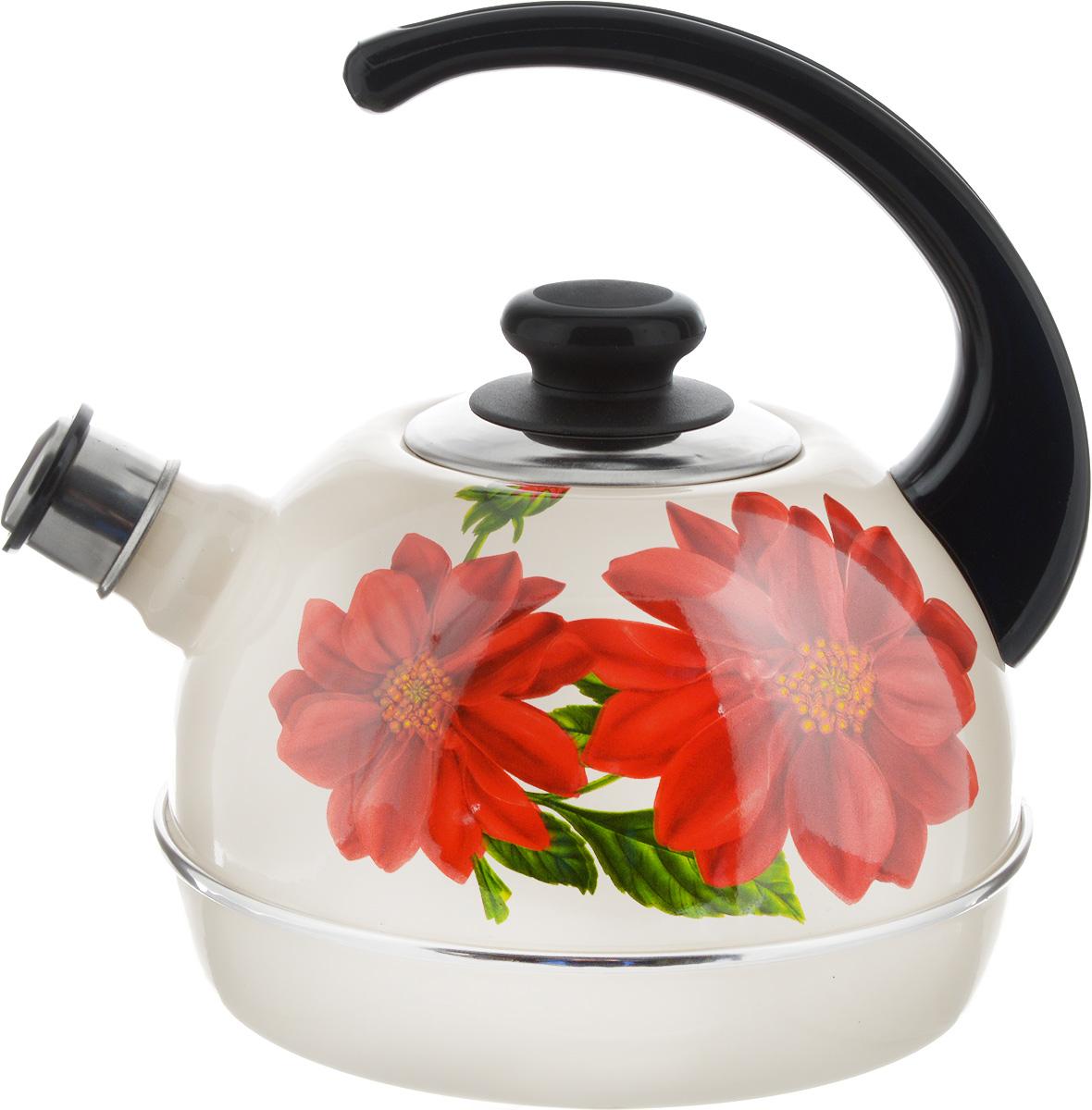 Чайник Рубин, со свистком, цвет: бежевый, красный, зеленый, 3,5 лT04/35/04/09Чайник Рубин выполнен из высококачественной стали, что обеспечивает долговечность использования. Внешнее цветное эмалевое покрытие придает приятный внешний вид. Пластиковая фиксированная ручка делает использование чайника очень удобным и безопасным. Чайник снабжен съемным свистком. Можно мыть в посудомоечной машине. Пригоден для всех видов плит, включая индукционные. Высота чайника (без учета крышки и ручки): 14 см. Диаметр основания: 19 см.