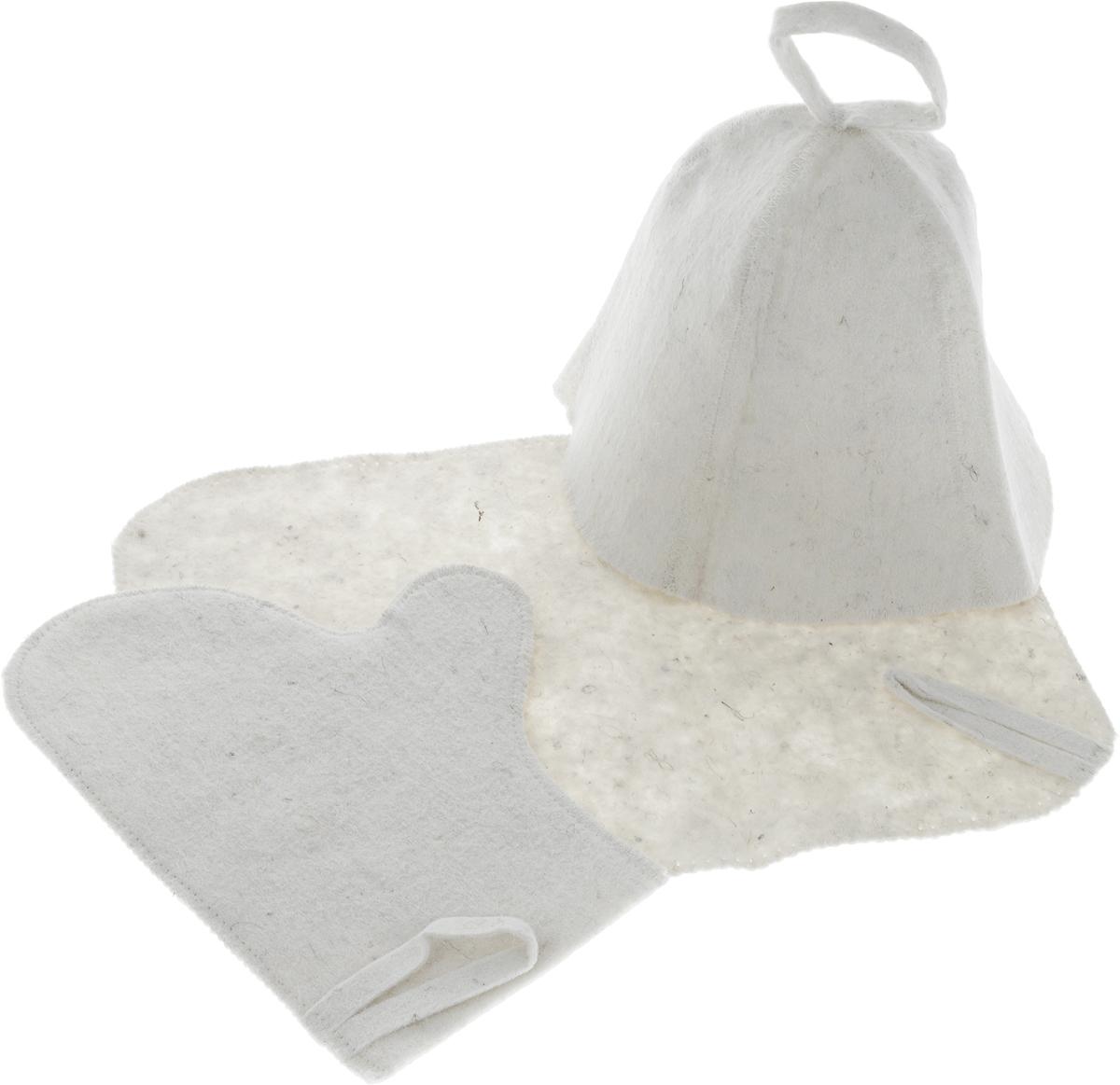 Набор для бани и сауны Proffi, 3 предметаPS0078_без надписейОригинальный набор для бани и сауны Proffi включает в себя шапку, рукавицу и коврик. Изделия выполнены из войлока. Шапка, рукавица и коврик - это незаменимые аксессуары для любителей попариться в русской бане и для тех, кто предпочитает сухой жар финской бани. Шапка защитит волосы от сухости и ломкости, голову от перегрева и предотвратит появление головокружения. Рукавица обезопасит ваши руки от появления ожогов, а коврик - от высоких температур при контакте с горячей лавкой в парилке. На изделиях имеются петельки, с помощью которых их можно повесить на крючок в предбаннике. Такой набор станет отличным подарком для любителей отдыха в бане или сауне. Размер коврика: 40 х 30 см. Размер шапки: 23 х 23 х 24 см. Размер рукавицы: 28 х 22 см.