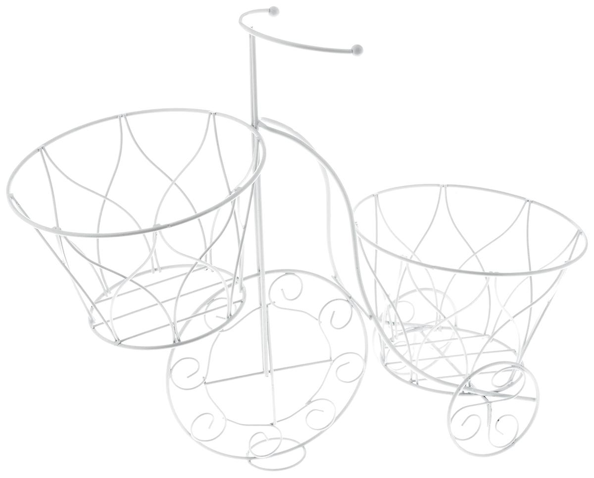 Кашпо Magic Home Велосипед, 41 х 18 х 35 см. 4416344163Кашпо Magic Home Велосипед изготовлено из металла в виде велосипеда. Кашпо имеет два отделения для горшков. Кашпо - декоративная ваза для цветочных горшков. Фигурные кашпо для цветов служат объектом декора помещения. Дом, украшенный фигурными кашпо, приобретает свою оригинальность, свой характер. Неожиданные и оригинальные кашпо для цветов - это самый простой и доступный способ сделать дом, дачу или приусадебную территорию неповторимыми. Кашпо Велосипед - красивый и оригинальный сувенир для друзей и близких. Размер кашпо: 41 х 18 х 35 см. Диаметр отделения под горшок: 18 см.