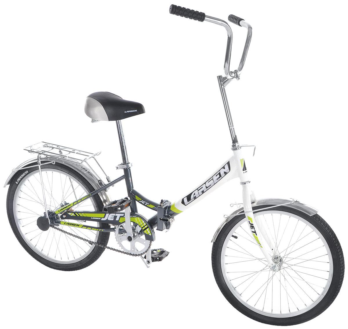 Велосипед Larsen Jet 20, цвет: белый, серыйMHDR2G/AВелосипед Larsen Jet 20 - это складной подростковый велосипед, который станет прекрасным подарком для вашего ребенка. Велосипед идеально справится со своим прямым предназначением - катанием по асфальтированным и грунтовым дорогам. Модель прекрасно сконструирована: современный яркий дизайн, безопасность, удобная форма рамы - вот ее главные преимущества. Благодаря полноценной защите цепи, исключены попадание в цепь одежды и малейшая возможность случайно поцарапаться. У данной модели качественная, прочная, легкая и удобная рама из стали с жесткой вилкой, которая менее подвержена механическим повреждениям и коррозии в сырую погоду. Конструкция рамы - складная, это позволит компактно перевозить велосипед и хранить его в квартире. Мягкое подпружиненное седло велосипеда и руль регулируются по высоте, что придает комфорт, делая прогулки по городу более удобными. Колесадиаметром 20 дюймов с покрышками Wanda и алюминиевыми ободами обладают хорошей маневренностью, ускорением и накатом. Ножной педальный тормоз отличается предельной простотой в использовании и надежностью. Чтобы привести его в действие, нужно вращать педали в обратную сторону. Велосипед оснащен полноразмерными крыльями, которые спасают от грязи, что делает его еще более практичным. Приятным и полезным дополнением служат подножка и багажник. Подростковый велосипед Larsen Jet 20 послужит идеальным спутником для отважных велосипедистов, предпочитающих активный образ жизни.Количество скоростей: 1 шт.Размер колес: 20 дюймов. Резина: Wanda p1079.Втулка передняя: fr-03 сталь.Втулка задняя: cf-e10 сталь.Тормоза: втулочные, ножные.
