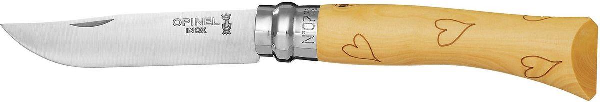 Нож Opinel Tradition. Nature №07, длина клинка 8 см, цвет: светло-бежевый. 001548001548Нож Opinel Nature №7, нержавеющая сталь, рукоять - самшит, рисунок - сердце. Идеальный карманный нож для пикника, барбекю, походов, охоты и рыбалки. Характеристики ножа: Материал лезвия: сталь Sandvik 12C27 Материал рукояти: самшит, нанесен рисунок - сердце Тип ножевого замка: Viroblock Приспособление для открытия клинка: насечка на лезвии Длина лезвия, см: 8 Длина ножа, см: 17,8 Ширина лезвия, см: 1,6 Длина в сложенном положении, см: 10 Вес, гр: 42 Вес ножа с упаковкой, гр: 47 Viroblock - оригинальное запорное устройство, представляющее собой кольцо с прорезью, которое, будучи повернуто относительно оси ножа, упирается в пятку клинка и не доет ножу самопроизвольно складываться при работе или раскладываться в кармане. Конструкция эта защищена патентом и устанавливается на ножи Opinel с 1955 года, начиная с модели n° 6.