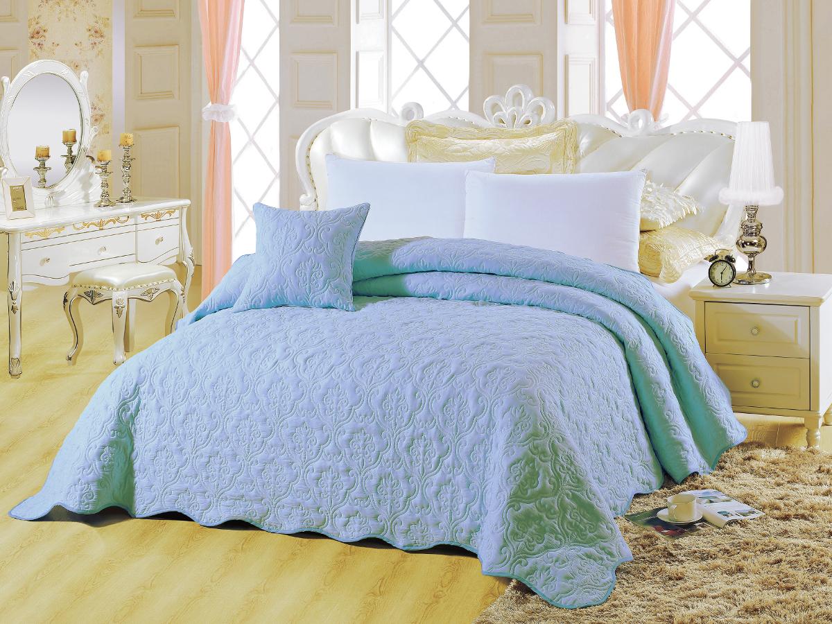 Покрывало Cleo Андора, цвет: бирюзовый, голубой, 220 х 240 см531-401Покрывало Cleo Андора, цвет: бирюзовый, голубой, 220 х 240 см
