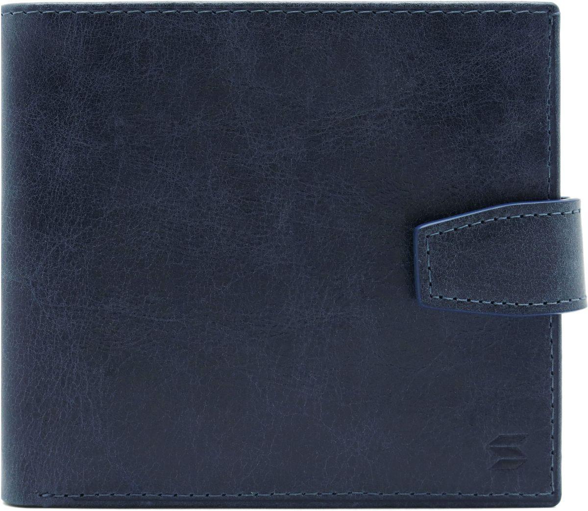 Портмоне мужское Soltan, цвет: темно-синий. 160 11 17ICE 8508Портмоне Soltan выполнено из натуральной кожи с эффектом старения и застегивается на хлястик с кнопкой. Модельимеет три отделения для купюр, одно из которых на молнии, 3 кармашка для кредиток и отделение для мелочи.
