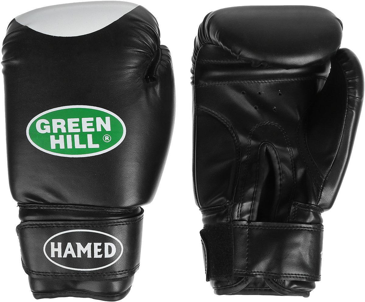 Перчатки боксерские Green Hill Hamed, цвет: черный. Вес 12 унцийRivaCase 7560 greyБоксерские перчатки Green Hill Hamed прекрасно подойдут для прогрессирующих спортсменов. Верх выполнен из искусственной кожи, наполнитель - из пенополиуретана. Перфорированная поверхность в области ладони позволяет создать максимально комфортный терморежим во время занятий. Широкий ремень, охватывая запястье, полностью оборачивается вокруг манжеты, благодаря чему создается дополнительная защита лучезапястного сустава от травмирования. Перчатки прекрасно сидят на руке. Застежка на липучке способствует быстрому и удобному надеванию перчаток, плотно фиксирует перчатки на руке.