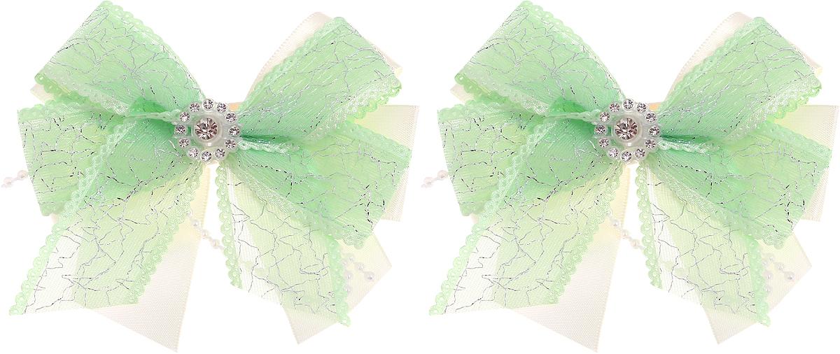 Babys Joy Резинка для волос цвет зеленый 2 шт MN 208/2MN 208/2_зеленыйРезинка для волос Babys Joy выполнена в виде двойного банта из атласной ленты молочного цвета и декоративной зеленой ленты, центр которого закреплен элементом из страз. Резинка позволит не только убрать непослушные волосы с лица, но и придать образу немного романтичности и очарования. В упаковке: 2 резинки. Рекомендовано для детей старше трех лет.