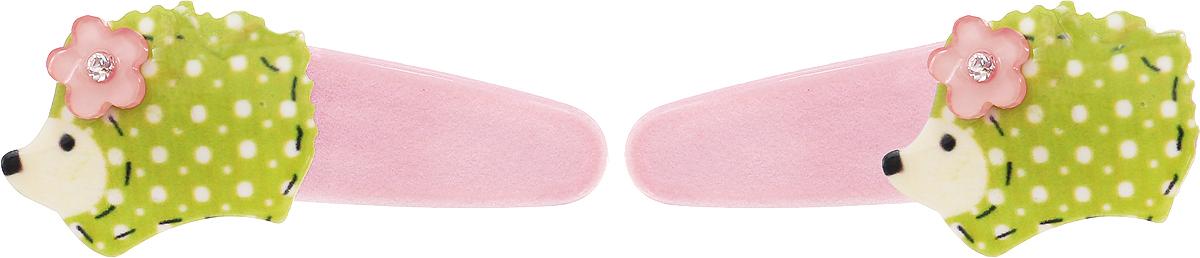 Baby's Joy Заколка для волос Ежик цвет светло-розовый салатовый 2 шт