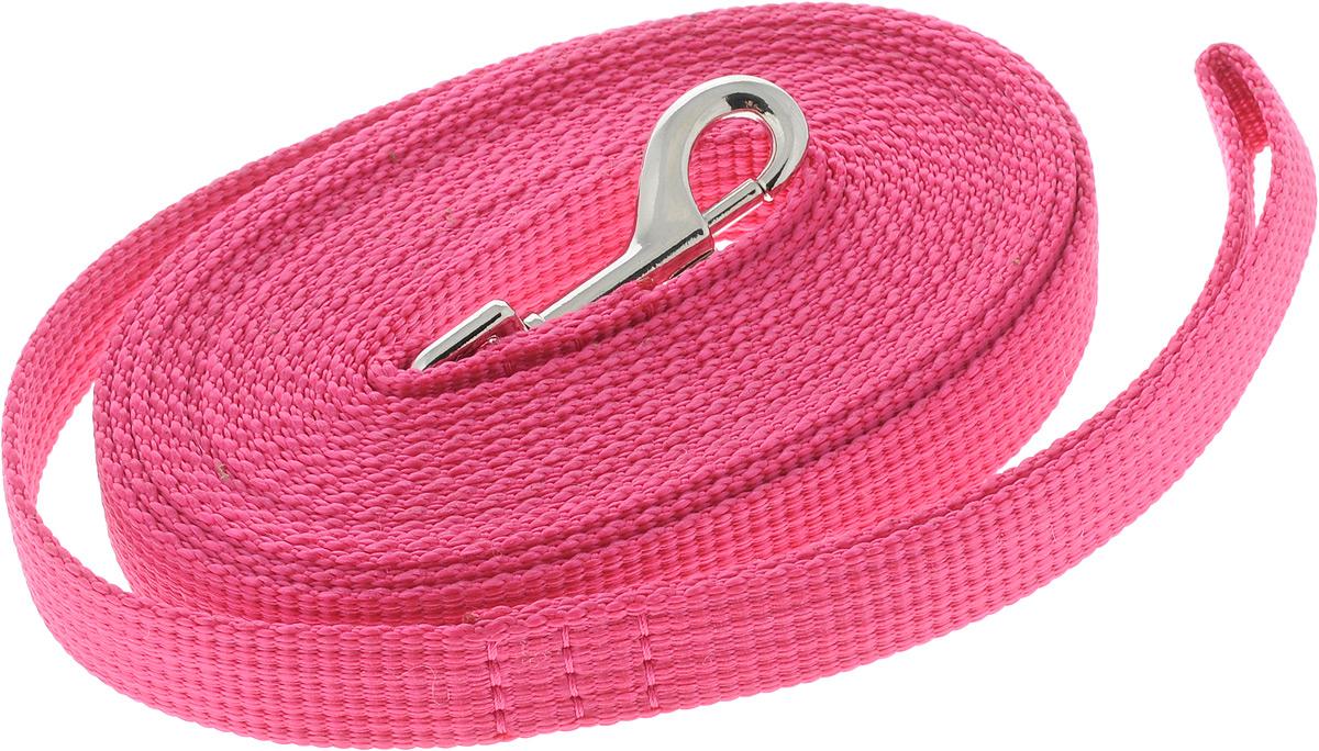 Поводок капроновый для собак Аркон, цвет: розовый, ширина 2 см, длина 5 м0120710Поводок для собак Аркон изготовлен из высококачественного цветного капрона и снабжен металлическим карабином. Изделие отличается не только исключительной надежностью и удобством, но и привлекательным современным дизайном.Поводок - необходимый аксессуар для собаки. Ведь в опасных ситуациях именно он способен спасти жизнь вашему любимому питомцу. Иногда нужно ограничивать свободу своего четвероногого друга, чтобы защитить его или себя от неприятностей на прогулке. Длина поводка: 5 м.Ширина поводка: 2 см.