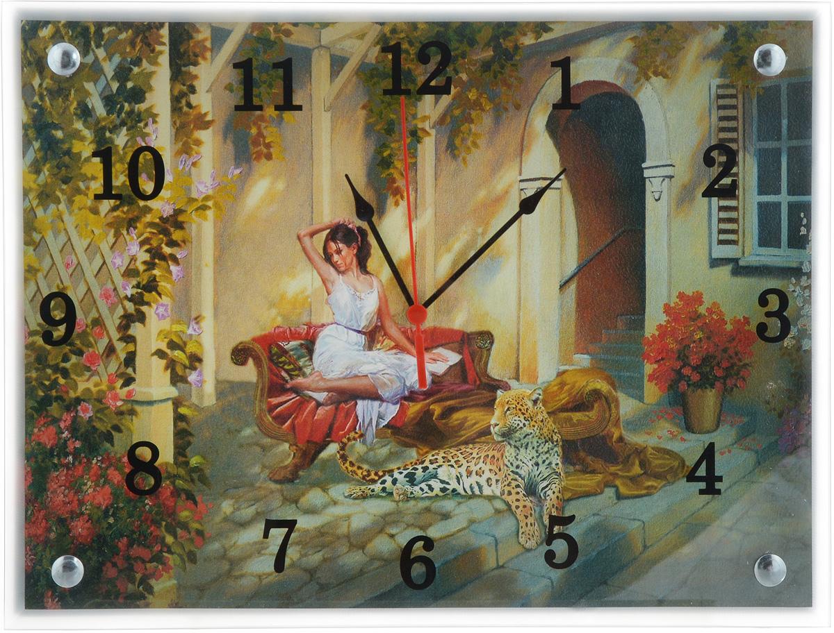 Часы настенные Proffi Home Патио, 40 х 30 смВ838Настенные кварцевые часы Proffi Home Патио, изготовленные на ДВП с постером и из стекла. Часы прекрасно подойдут под интерьер вашего дома. Они имеют три стрелки: часовую, минутную и секундную. Часы оснащены металлической петелькой для подвешивания. Часы работают от 1 батарейки типа АА напряжением 1,5 В (не входит в комплект). Размер часов: 40 х 30 х 4 см.