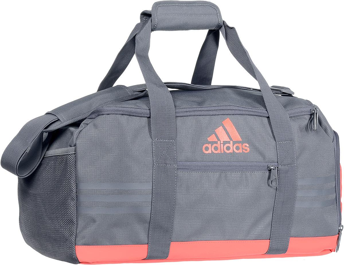 Сумка спортивная Adidas 3S Per TB, цвет: серый, морковный, коралловыйS99997Стильная спортивная сумка Adidas 3S Per TB выполнена из полиэстера. Изделие имеет одно отделение, закрывающееся на застежку-молнию. Снаружи, на передней стенке находится нашивной карман на застежке-молнии, с одной из боковых сторон - вентилируемый карман для обуви на застежке-молнии, с другой стороны - сетчатый карман. Основание изделия выполнено из более плотного материала с полиуретановым покрытием, что обеспечивает защиту от влаги и дополнено пластиковыми ножками. Сумка оснащена двумя удобными ручками для переноски в руках и регулируемым наплечным ремнем.