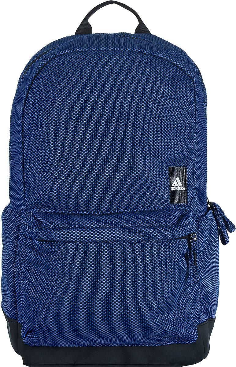 Рюкзак спортивный Adidas Classic, цвет: черный, синий00052912Спортивный рюкзак Adidas Classic выполнен из полиэстера. Основание изделия имеет покрытие из термополиуретана, которое предотвращает проникновение воды и грязи. Изделие имеет одно отделение, которое застегивается на застежку-молнию. Внутри находится вместительный накладной карман. Снаружи, на передней стенке расположен накладной объемный карман на застежке-молнии, по бокам - накладные открытые карманы.Рюкзак оснащен широкими регулируемыми лямками и ручкой для переноски в руке. Спинка и лямки с внутренней стороны имеют мягкую сетчатую подкладку, которая обеспечивает проникновение воздуха.