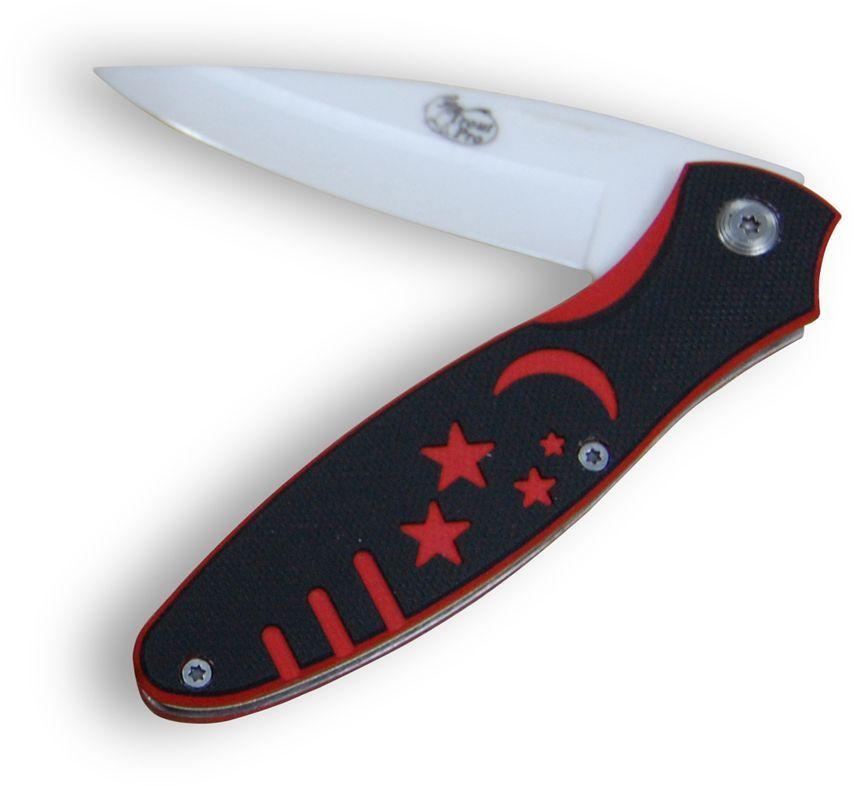 Нож керамический Trout Pro Cobra, складной52909Лезвия керамических ножей остаются острыми чрезвычайно долго и вы сможете пользоваться невероятной остротой таких ножей без заточки годами. Кроме того керамические ножи химически инертны, не вступают во взаимодействие с пищей и сохраняют вкус продуктов в первозданном виде. Керамика устойчива к пищевым кислотам, маслам и солям, и совершенно не подвержена коррозии. Доступные цены на туризм на Кипре в агентстве Alvicyprus [ http://alvicyprus.com/turizm ] Изготовлены из керамики, пластика и нержавеющей стали.