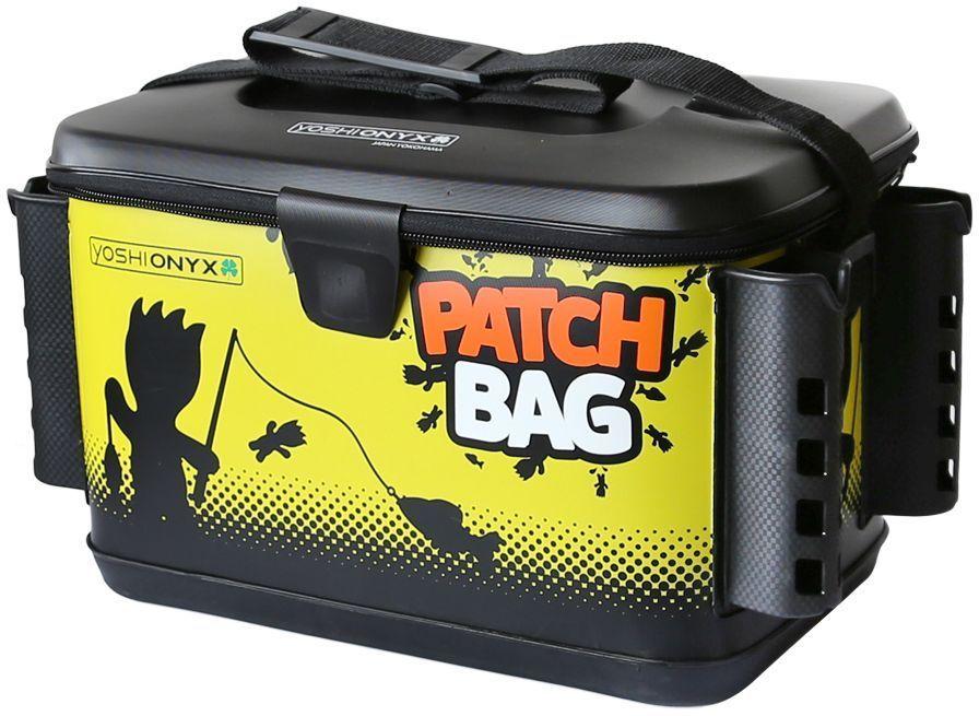Сумка для снастей Yoshi Onyx Patch Bag, с держателями для спиннингов, цвет: черный, желтый96803Яркая, водонепроницаемая сумка для снастей с держателями под 4 спиннинга. Изготовлена из качественного материала EVA, который легко поддается чистке и мойке, с очень хорошим качеством прокраски и оригинальным узнаваемым рисунком. Сумка закрывается на молнию, но если вам нужно иметь возможность быстро сменить приманку, то можно воспользоваться фиксацией крышки липучкой с помощью одного касания. Снаружи имеются надежные, крепкие держатели для установки 4 спиннингов. Для удобной переноски сумка оснащена наплечным ремнем, который можно отрегулировать по длине.. В сумку можно поместить большие фирменные коробки Yoshi Onyx для снастей. Сумка Yoshi Onyx Patch Box - невероятно яркий и красивый элемент рыболовного современного снаряжения, созданный приносить радость от рыбалки.