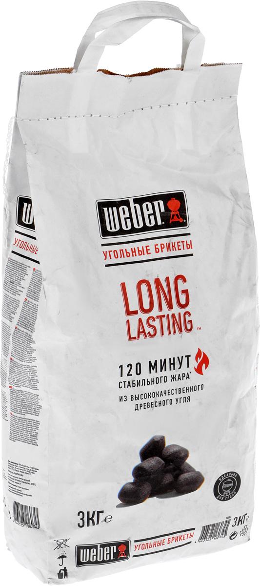 Брикеты угольные Weber Long Lasting, 3 кг16034Уголь Weber Long Lasting предназначен для быстрого и качественного приготовления разнообразных блюд в мангалах и грилях. Брикеты изготовлены из высококачественного древесного угля. Изделия обладают высокой теплоотдачей и не выделяют канцерогенных веществ. Уголь пылает ровно и значительное время сохраняет жар, что гарантирует хорошую прожарку продуктов и исключает их подгорание. Время горения: 120 минут. Вес упаковки: 3 кг.
