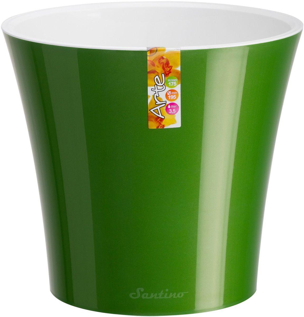 Горшок цветочный Santino Арте, двойной, с системой автополива, цвет: зеленое золото, белый, 1,2 лZ-0307Горшок цветочный Santino Арте снабжен дренажной системой и состоят из кашпо и вазона-вкладыша. Изготовлен из пластика.Особенность: тарелочка или блюдце не нужны.Горшок предназначен для любых растений или цветов. Цветочный дренаж – это система, которая позволяет выводить лишнюю влагу через корневую систему цветка и слой почвы. Растение – это живой организм, следовательно, ему необходимо дышать. В доступе к кислороду нуждаются все части растения: -листья; -корневая система.Если цветовод по какой-либо причине зальет цветок водой, то она буквально вытеснит из почвенного слоя все пузырьки кислорода. Анаэробная среда способствует развитию различного рода бактерий. Безвоздушная среда приводит к загниванию корневой системы, цветок в результате увядает.Суть работы дренажной системы заключается в том, чтобы осуществлять отвод лишней влаги от растения и давать возможность корневой системе дышать без проблем. Следовательно, каждому цветку необходимо:-иметь в основании цветочного горшочка хотя бы одно небольшое дренажное отверстие. Оно необходимо для того, чтобы через него выходила лишняя вода, плюс ко всему это отверстие дает возможность циркулировать воздух.-на самом дне горшка необходимо выложить слоем в 2-5 см (зависит от вида растения) дренаж.