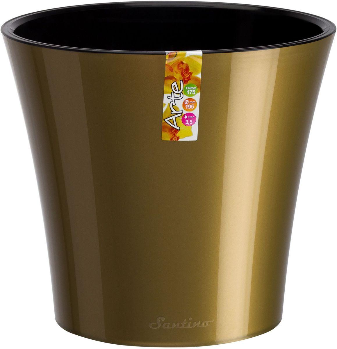 Горшок цветочный Santino Арте, двойной, с системой автополива, цвет: золотой, черный, 3,5 лАРТ 3,5 З-ЧСистем автополива - гарантия здоровья ваших цветов. Экономия времени - решение для самых занятых. Чистота и удобство - нет протекания воды при поливе. Здоровые корини - нет застаивания корней в воде. Оптимальный рост - корни обеспечены циркуляцией воздуха.