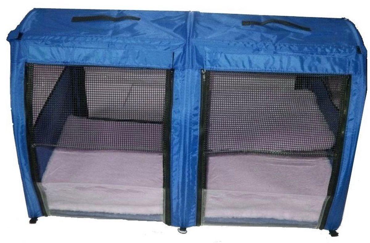 Клетка для животных Заря-Плюс, выставочная, цвет: голубой, 101 х 58 х 54 см. КВП20120710Большая полукруглая выставочная клетка станет настоящей находкой для владельцев нескольких кошек и котят. В этой палатке найдется место всем Вашим питомцам. Эта выставочная палатка продумана таким образом, чтобы Вам было максимально удобно участвовать в выставках:- собирается круговым движением, как трансформер, легко и просто; на выставке Вы самостоятельно соберете и разберете палатку за считанные минуты;- лицевая сторона палатки выполнена из пленки, которая может полностью отстегиваться;- обратная сторона палатки выполнена наполовину из сетки, наполовину из пленки; также может полностью отстегиваться;- боковые стенки выполнены наполовину из пленки, благодаря чему палатка становится очень светлой. И Вы сможете в максимально выгодном свете представить на выставке своих питомцев! - в комплект входит дополнительная шторка на липучке; при необходимости Вы можете закрыть шторкой окно, чтобы Ваши питомцы могли отдохнуть; - если у Вас возникнет необходимость разделить пространство палатки на 2 части, Вы можете просто и легко сделать это, застегнув на молнию разделительную перегородку посередине; - с двух сторон палатки имеются вместительные карманы, куда Вы можете положить все необходимые мелочи для участия в выставке;- в собранном виде палатка довольно компактна; при хранении занимает мало места;- палатка переносится в чехле, который входит в комплект;- для удобной переноски чехол имеет короткую и длинную ручки, также чехол имеет большой карман на молнии для различных мелочей; - в комплект входит 2 меховых матраца и меховой гамак.