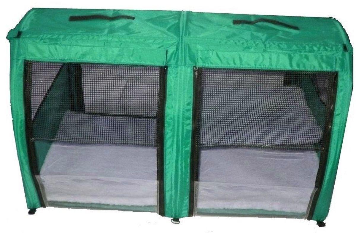Клетка для животных Заря-Плюс, выставочная, цвет: зеленый, 101 х 58 х 54 см. КВП2КВП2зБольшая полукруглая выставочная клетка станет настоящей находкой для владельцев нескольких кошек и котят. В этой палатке найдется место всем Вашим питомцам. Эта выставочная палатка продумана таким образом, чтобы Вам было максимально удобно участвовать в выставках: - собирается круговым движением, как трансформер, легко и просто; на выставке Вы самостоятельно соберете и разберете палатку за считанные минуты; - лицевая сторона палатки выполнена из пленки, которая может полностью отстегиваться; - обратная сторона палатки выполнена наполовину из сетки, наполовину из пленки; также может полностью отстегиваться; - боковые стенки выполнены наполовину из пленки, благодаря чему палатка становится очень светлой. И Вы сможете в максимально выгодном свете представить на выставке своих питомцев! - в комплект входит дополнительная шторка на липучке; при необходимости Вы можете закрыть шторкой окно, чтобы Ваши питомцы могли отдохнуть; - если у Вас возникнет необходимость разделить пространство...