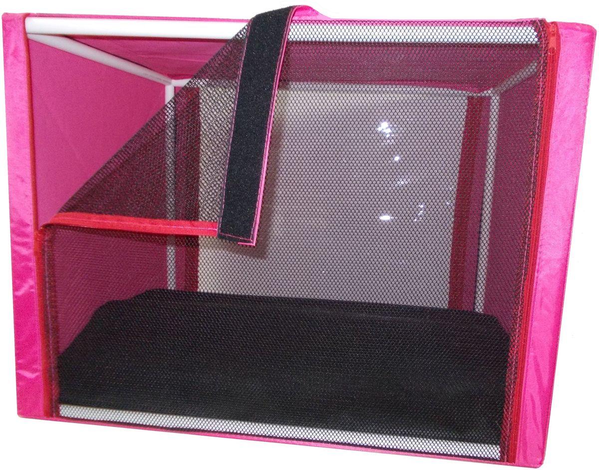 Клетка для животных Заря-Плюс, выставочная, цвет: малиновый, 76 х 56 х 56 см. КВР1КВР1мПалатки для выставок продуманы таким образом, чтобы Вам было максимально удобно участвовать в выставках: - палатка имеет полукруглую форму за счет встроенного каркаса из дуг; - собирается круговым движением легко и просто; на выставке Вы самостоятельно соберете и разберете палатку за считанные минуты; - лицевая сторона палатки выполнена из пленки, которая может полностью отстегиваться; - обратная сторона палатки выполнена наполовину из сетки, наполовину из пленки; также может полностью отстегиваться; - боковые стенки выполнены наполовину из пленки, благодаря чему палатка становится очень светлой. И Вы сможете в максимально выгодном свете представить на выставке своих питомцев! - с двух сторон палатки имеются вместительные карманы, куда Вы можете положить все необходимое для участия в выставке; - в собранном виде палатка довольно компактна, при хранении занимает мало места; - палатка переносится в чехле, который входит в комплект; - для удобной переноски чехол имеет короткую и длинную...
