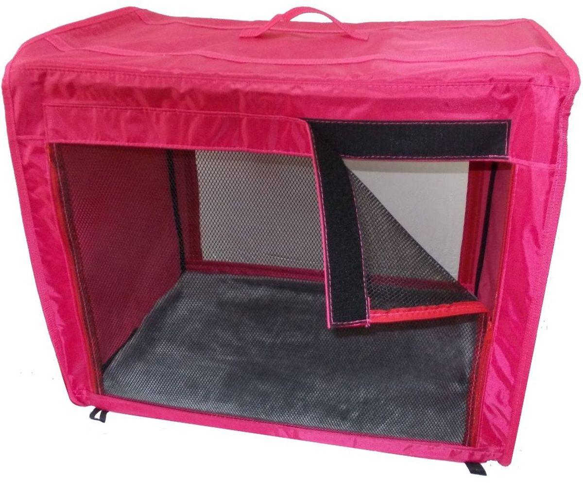 Клетка для животных Заря-Плюс, выставочная, цвет: малиновый, 75 х 60 х 50 см. КТВ2КТВ2мОдна из любимых моделей наших Клиентов - выставочная палатка КТВ2: - имеет закрытые боковые части; - с одной стороны палатка выполнена из сетки, которая пристегивается с помощью молнии; - с другой стороны палатка выполнена из пленки, которая также пристегивается с помощью молнии; - обратите внимание на оформление выставочной клетки: при необходимости одна из сторон закрывается шторкой, в открытом состоянии шторка фиксируется с помощью липкой ленты; - огромное преимущество этой модели в том, что палатка легко и просто собирается и разбирается; на выставке Вы самостоятельно соберете палатку за несколько минут, застегнув молнии с двух сторон палатки; - в собранном виде палатка довольно компактна, при хранении занимает мало места; - палатка переносится в чехле, который входит в комплект; - для удобной переноски чехол имеет две короткие и одну длинную ручки, также чехол имеет 2 больших кармана; - в комплект входит съемное дно из ДВП и меховой матрац; при необходимости матрац легко...