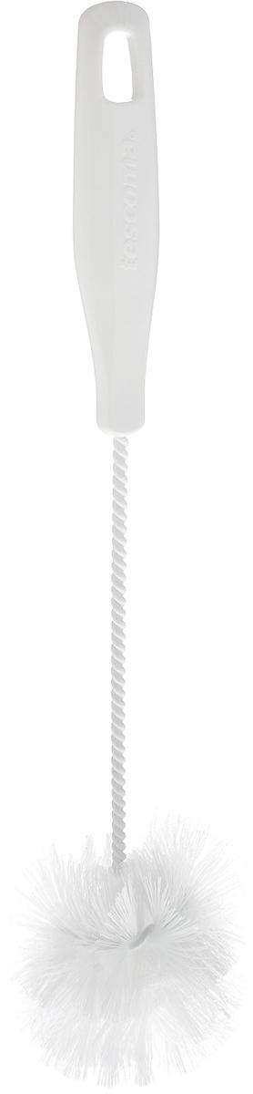 Щетка для посуды Tescoma CleanKit, длина 30,5 см900668Ершик Tescoma CleanKit предназначен для мытья посуды. Изделие оснащено жесткой прочной щетиной, выполненной из высококачественного термостойкого нейлона и закрепленной на металлическом крученом стержне. Эргономичная рукоятка, изготовленная из пластика, оснащена отверстием для подвешивания. Длина щетки: 30,5 см. Размер рабочей части: 7 х 7 х 8 см.