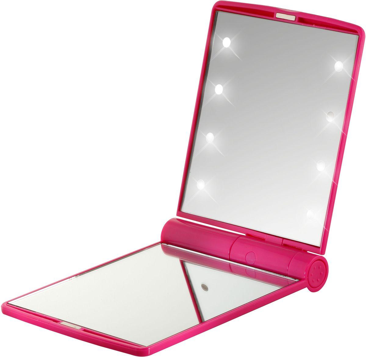 Flo Зеркало косметическое Led Celebrity Mirror, с LED-подсветкой, 2-х увеличение, цвет: фуксия FP-200-604F