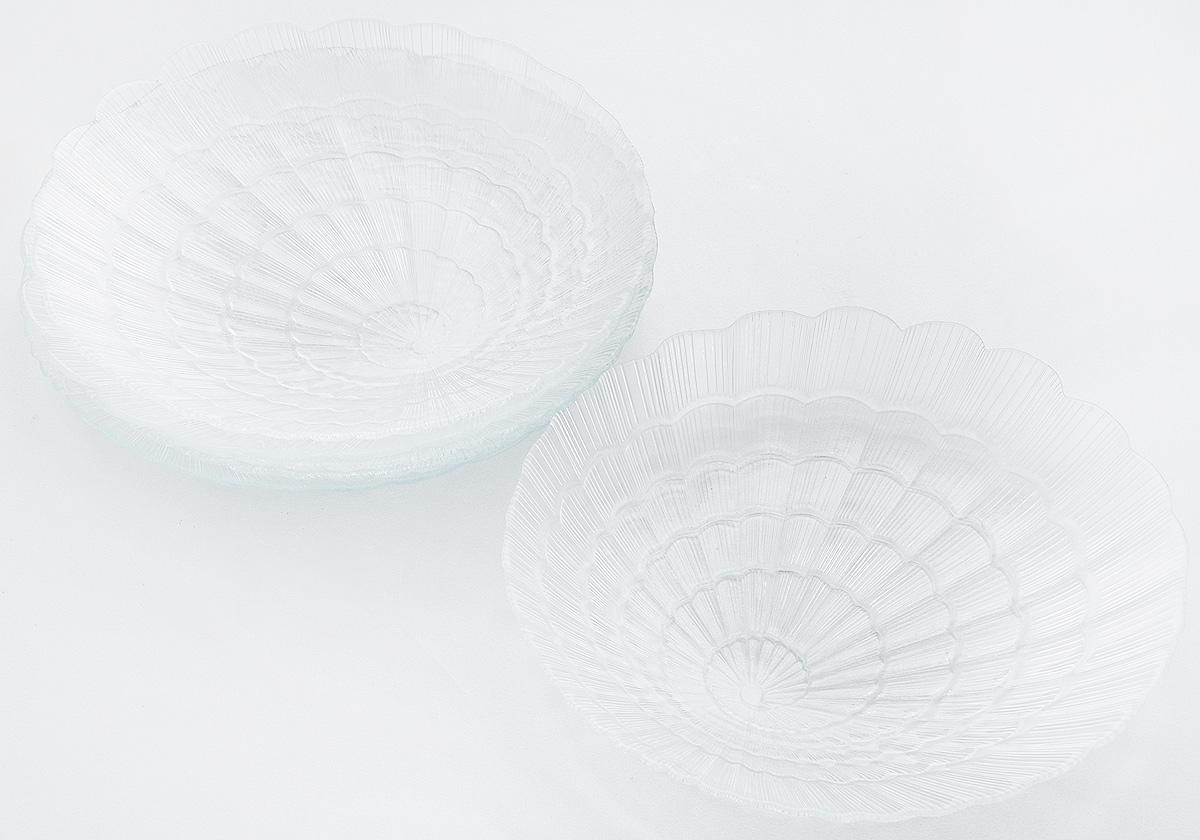 Набор тарелок Pasabahce Atlantis, диаметр 24 см, 6 штVT-1520(SR)Набор Pasabahce Atlantis состоит из шести тарелок, выполненных из высококачественного закаленного стекла. Они имеют оригинальную форму и декорированы рельефным узором. Тарелки прекрасно подойдут для красивой сервировки различных блюд. Оригинальность оформления тарелок придется по вкусу и ценителям классики, и тем, кто предпочитает утонченность и изящность. Набор тарелок Pasabahce Atlantis станет украшением вашего стола и послужит отличным подарком к любому празднику. Диаметр тарелки: 24 см. Высота тарелки: 2,5 см.