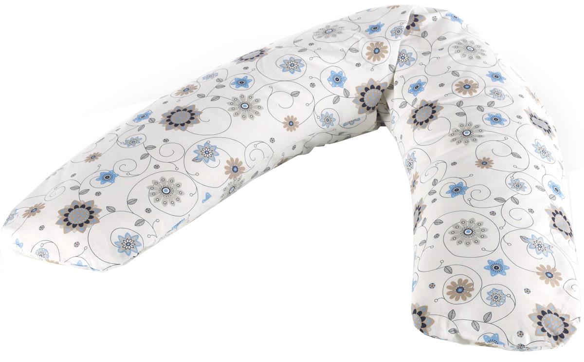 Theraline Чехол для подушки для беременных Цветы 170 см цвет слоновая кость52002103Чехол-наволочка на подушку Therfline Цветы для беременных и кормящих мам, размер 170 см.
