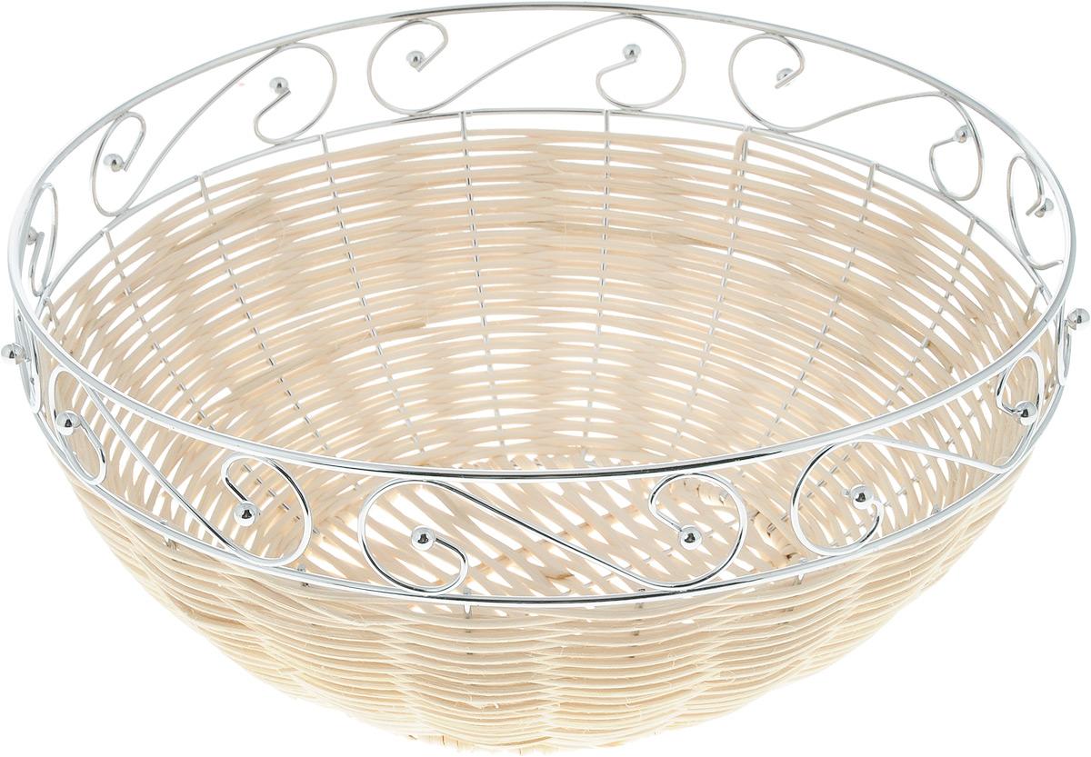 Корзина для фруктов Mayer & Boch, диаметр 27 см20943Элегантная корзина Mayer & Boch круглой формы, изготовленная из ротанга и высококачественного металла, идеально подойдет для красивой сервировки фруктов, хлеба и других угощений. Корзина Mayer & Boch прекрасно оформит стол и станет чудесным дополнением к вашей кухонной коллекции. Диаметр корзины (по верхнему краю): 27 см.