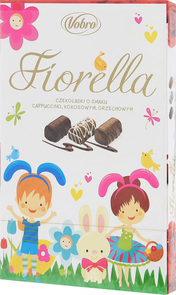 Vobro Fiorella набор шоколадных конфет, 140 г9352_пасхальный дизайнVobro Fiorella - это 3 дополнительных вкуса, создающих набор, который не надоест. Под деликатным шоколадом скрыт вкус кокоса, ореха и капучино. Пралине доступны в трех различных графических упаковках. Такая коробка конфет будет идеальным подарком вместо одних цветов. Такой набор, несомненно, порадует каждую женщину.