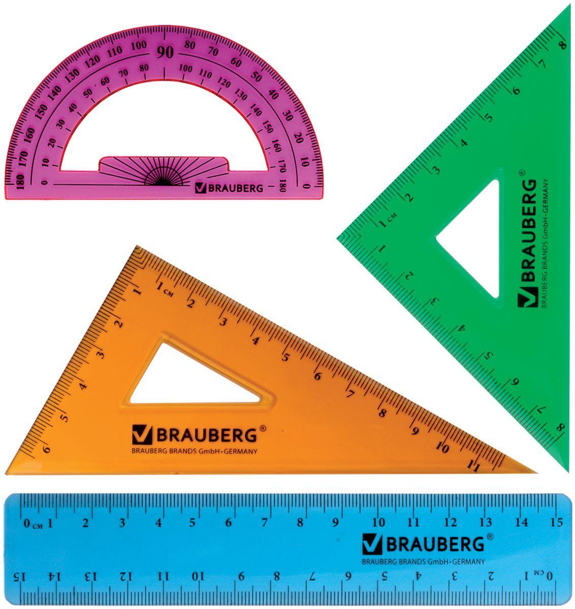 Brauberg Набор чертежный Сrystal 21029572523WDНабор геометрический Brauberg Сrystal из яркого, прочного пластика толщиной 1,7 - 2 мм. Предназначен для чертёжных работ.Набор включает в себя четыре предмета: линейка со шкалами 15 см/15 см, треугольник с углами 30°/60° и шкалами 11,6 см/6,5 см, треугольник с углами 45°/45° и шкалами 8 см/8 см, транспортир 180°.