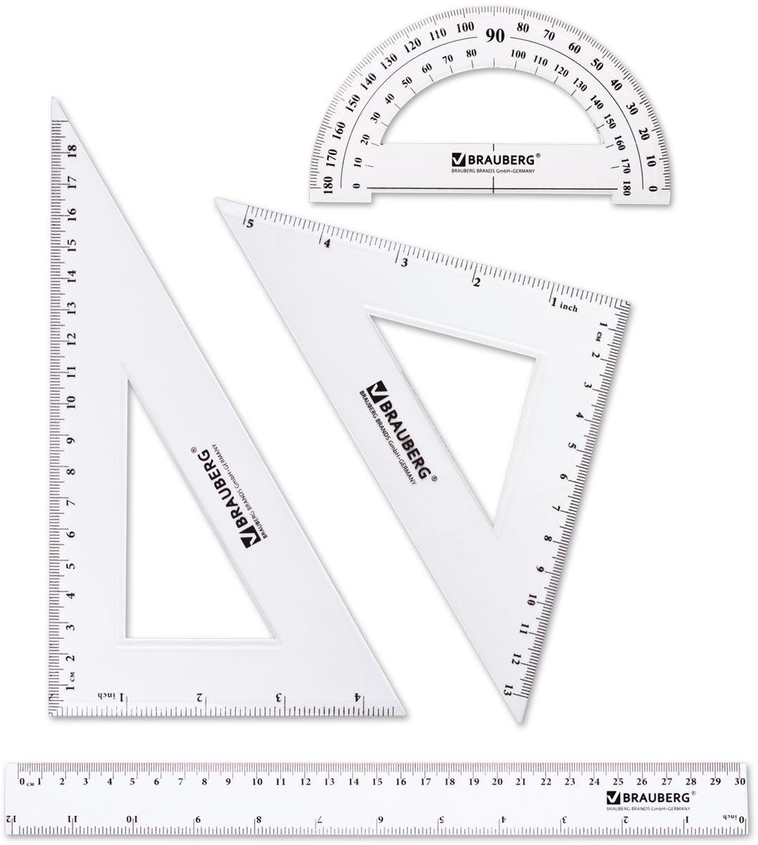 Brauberg Набор чертежный 4 предмета 210308210308Набор геометрический Brauberg из прозрачного, прочного пластика толщиной 2 мм. Предназначен для чертёжных работ. Набор включает в себя четыре предмета: линейка со шкалами 30 см/12, треугольник с углами 30°/60° и шкалами 19 см/4, треугольник с углами 45°/45° и шкалами 13 см/5, транспортир 180°.