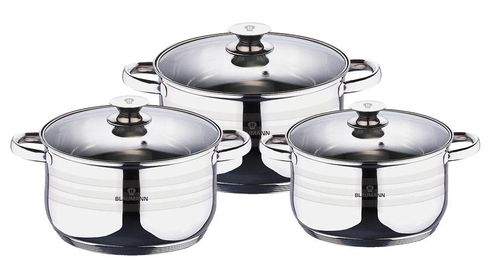 Набор посуды Blaumann Gourmet Line, 6 предметов3160-ВLНабор кухонной посуды 6 предметов со стеклянными крышками , кастрюля с крышкой 2,1л 16*9,5см, кастрюля с крышкой 2,5л 18*10,5см, кастрюля с крышкой 3,9л 20*11,5см, индукционное дно, мерная шкала, подходит для всех видов плит